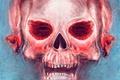 Картинка RuslanKadiev, розовый череп, жуть, останки, Red-eyed Skull