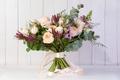 Картинка букет, зелень, львиный зев, розы
