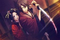 Картинка кровь, катана, гейша, кимоно, art, защитник, Демоны бледной сакуры, Yukimura Chizuru, Okita Souji, Hakuouki Shinsengumi ...