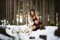 Картинка платье, волк, зима, лес, снег, девушка, собака