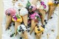Картинка мороженое, ягоды, сладкое, вафельный рожок, десерт